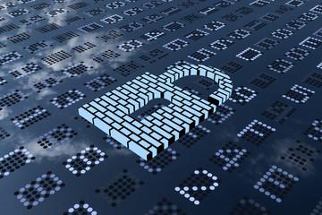 Sicherheit im Netz. 3D gerenderte Matrix in blau-grau mit einem liegenden Buegelschloss. Das Schloss ist mit Mauersteinen aufgebaut.