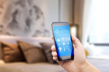 mobile phone in modern bedroom
