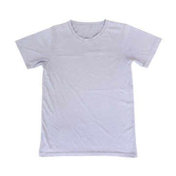one grey t shirt isolated on white
