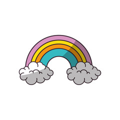 rainbow with clouds icon over white background vector illustration