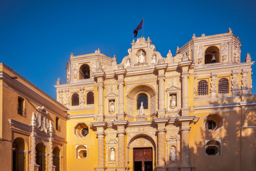 Most beautiful baroque architectural style Church, La Merced in Antigua, Guatemala