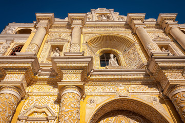 Facade details of the most beautiful baroque architectural style Church, La Merced in Antigua, Guatemala