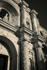 Vintage look of Arabesque Pattern details on the facade of La Merced Church in Antigua, Guatemala.