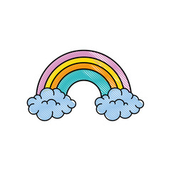 rainbow with clouds  icon over white background colorful design vector illustration