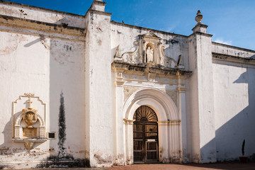Side entry of the Ruin of the Original Church of Cathedral de Santiago in Antigua, Guatemala.