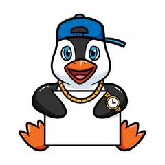 Cartoon Penguin Holding Blank Sign Vector Illustration