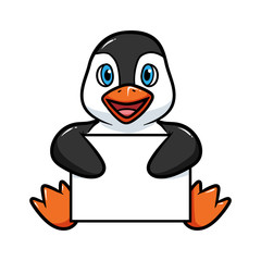 Cartoon Penguin Holding Blank Sign Vector Illustration