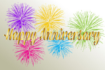 Happy anniversary gold words with fireworks image vector background