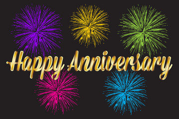 Happy anniversary gold greetings card with fireworks image vector background
