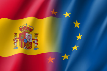 Symbol of Spain is EU member. European Union sign with twelve gold stars on blue and Spain national flag. Vector isolated icon