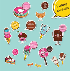 set of funny desserts and sweets. Cartoon face food emoji. Funny food concept.