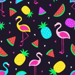 Vector seamless tropical crazy colors pattern. Pineapple, flamingos, watermelon. Very bright colorful cute cartoon background (wallpaper, fabric). Childish style, abstract pop art