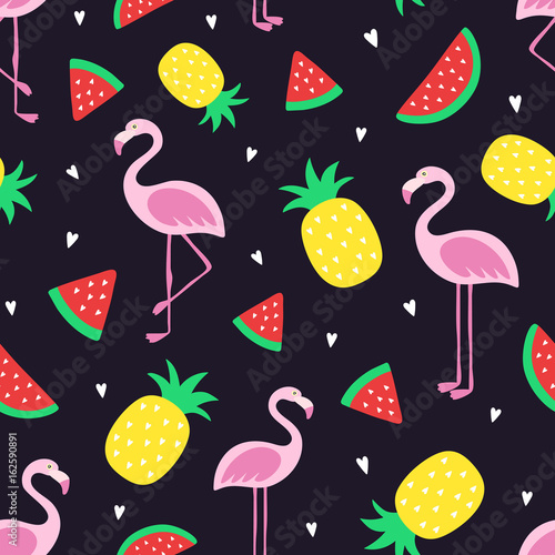 Vector Seamless Tropical Crazy Colors Pattern Pineapple Flamingos Watermelon Very Bright Colorful