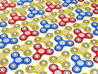 Multicolor fidget spinner ready for your print design mock up template. 3d render illustration.