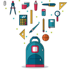 white background with backpack in closeup and colorful smaller icons of elements of school