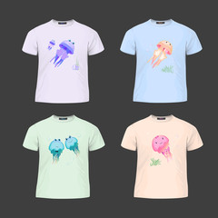 Original print for t-shirt. T-shirt with fashionable design - Cute cartoon style jellyfish. Vector Illustration
