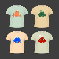 Original print for t-shirt. T-shirt with fashionable design - Cute cartoon style crab. Vector Illustration