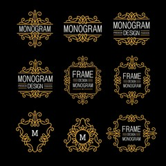Wonderful set, style art nouveau. Elegant Line Art Logo, Emdlem and Monogram Design, vector template