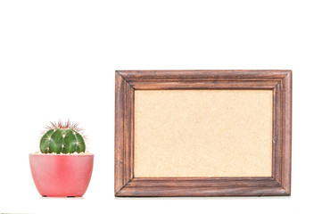 Picture frame with Cactus on white background.