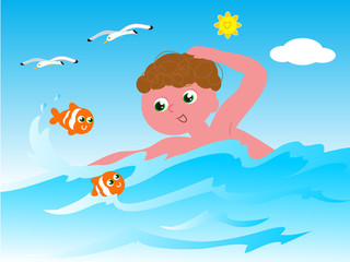 Swimmer with fishes vector
