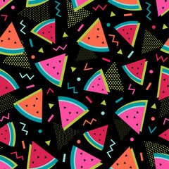 Cute sliced watermelon seamless pattern with Memphis style lines background