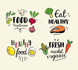 Healthy food hand drawn illustrations and elements for fresh market, eco food, vegan menu, natural products