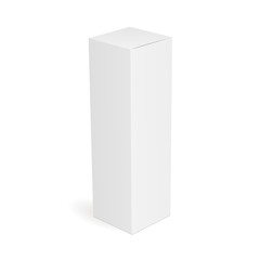White slim high rectangular box isolated. Mockup for your design. Vector illustration