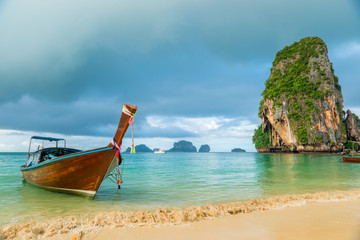 Beautiful wooden boat long tail off the coast of Thailand close-up