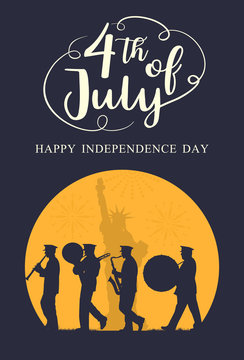 Silhouette marching band parade with Liberty statue as a background with text 4th July, vector