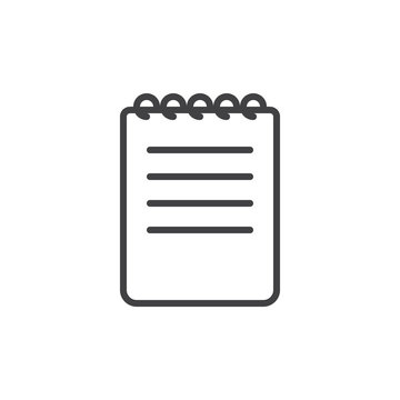 Notebook line icon, outline vector sign, linear style pictogram isolated on white. Note symbol, logo illustration. Editable stroke. Pixel perfect graphics