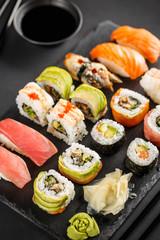 Poster Sushi bar Sashimi sushi and sushi roll