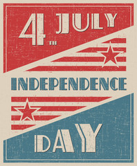 Happy independence day United States of America, 4th of July grunge style. Retro illustration.