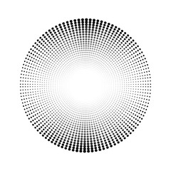 Circle made of dots with blank center. Vector illustration.