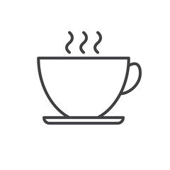 Teacup line icon, outline vector sign, linear style pictogram isolated on white. Symbol, logo illustration. Editable stroke. Pixel perfect graphics