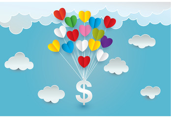 Paper art  heart money cloud  in the sky concept, vector and