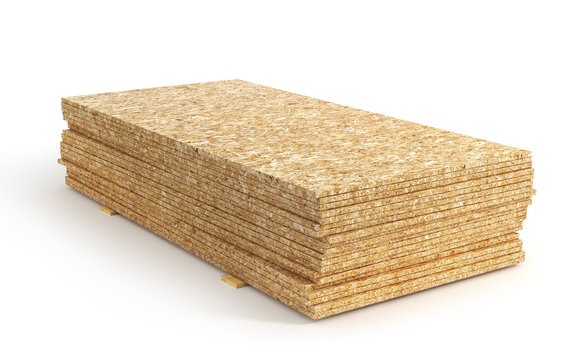 Stack of oriented strand board isolated on a white background. 3d illustration
