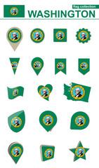 Washington Flag Collection. Big set for design.