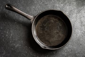 Cast iron pan on black background