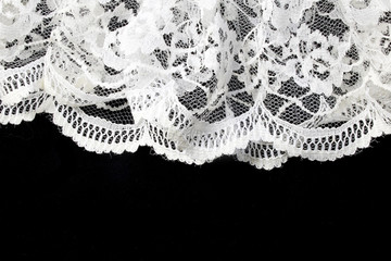 Vintage White Lace on Black Background