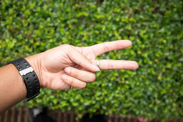 hand symbol  in the garden