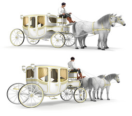 Coach with coachman. Set of 3d images isolated on white.