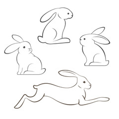 Outline illustration of rabbits and hares