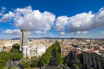 Panoramic of Barcelona from Colon monument