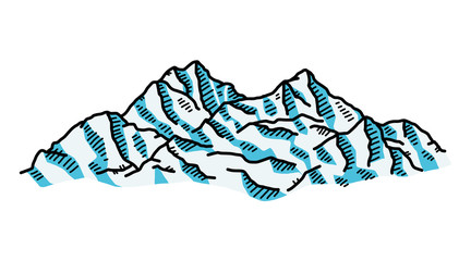 ice mountain / cartoon vector and illustration, hand drawn style, isolated on white background.