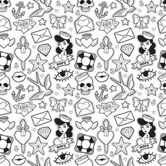 Old school seamless pattern in rockabilly style.