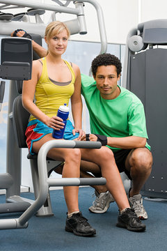 Woman and fitness instructor