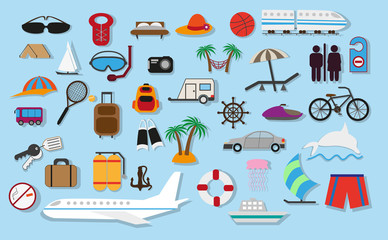 Travel and summer vacation, tourism and journey flat vector icons