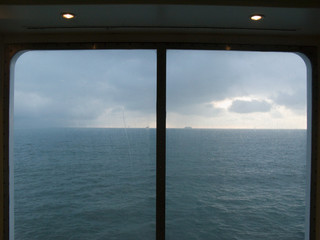 View of English Channel from ferry window