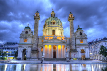 Saint Charles's Church at Karlsplatz in Vienna, Austria, HDR