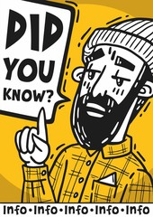 poster Bearded hipster pretentiously says did you know